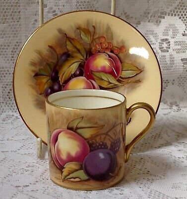 Aynsley Orchard Gold Fruit, China Coffee Can & Saucer Signed N Brunt & D Jones #