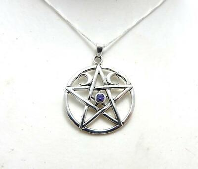 Triple Moon Pentagram Sterling silver Goddess necklace with amethyst .925 pagan