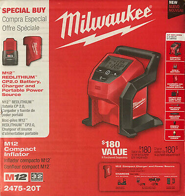 Milwaukee M12 12-Volt Lithium-Ion Cordless Inflator with 2.0 Ah Battery