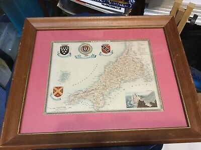 Antique Hand Colored Framed Map Of Cornwall, England With Coats Of Arms