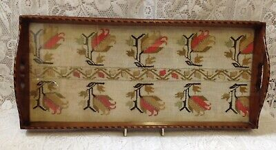 Antique Mahogany Inlayed Galleried Tray With Linen Hand Cross Stitch Under Glass