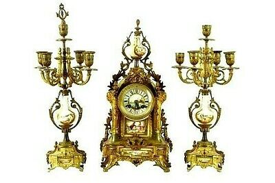 Spectacular Antique French Sevres Gilt Brass Clock Set For  Hospital Nurses Fund