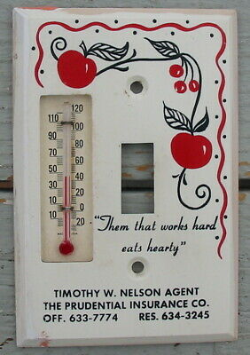 Vtg Retro Red Cherry Apple Ad Kitchen Light Switch Plate Cover Thermometer Old