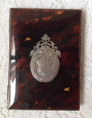 Antique C1800 Tortoiseshell & Silver Calling Card Case Rare Original Silk Lining