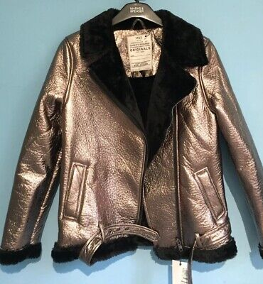 BNWT Girls M&S SILVER Biker Jacket AGE 12-13 , FAUX FUR LINED