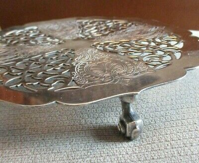 Elegant Viking Silver Plate Footed Etched Open Cut Work Trivet