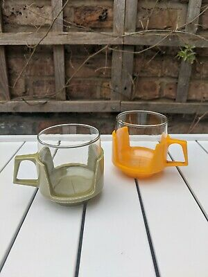 Vintage 60s 70s Pyrex Cups Mugs Glasses Green Yellow Homeware Camping Kitsch
