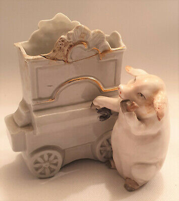 Antique Victorian Anthropomorphic Fairing German? Porcelain Bisque Pig Smoking