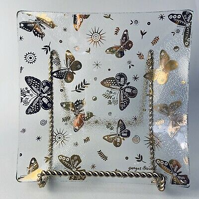 1960's Mid Century GEORGES BRIARD 24K Gold Butterfly Square Glass Tray Plate MCM