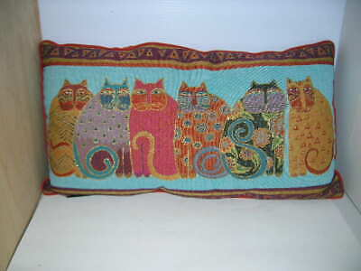 Laurel Burch Six Cats Colorful Throw Pillow