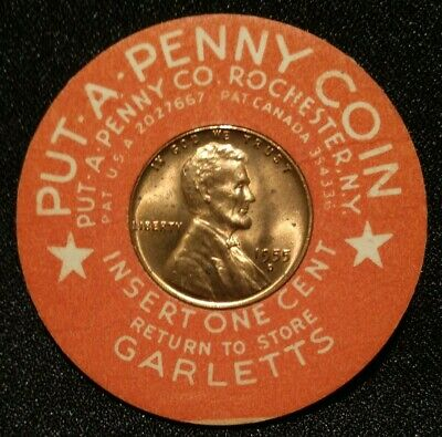 Garletts Store Encased 1955 D Lincoln Wheat Cent Coin Put-A-Penny Token Holder