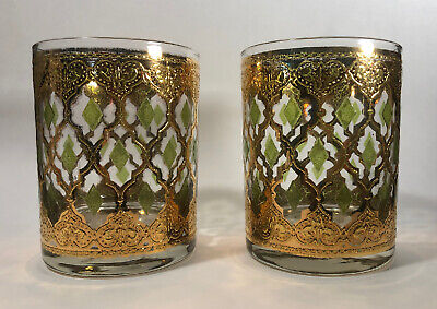 2 Culver Valencia 22K Gold Green Diamond Whiskey Double Rocks Glass MCM Vintage