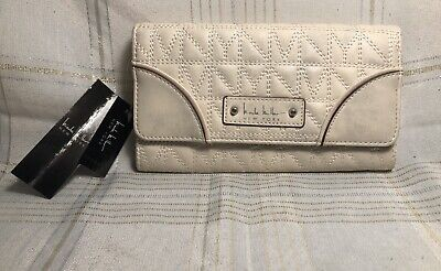 Nicole Miller New York Quilted White/Cream/Brown Shimmery Silver Trifold Wallet