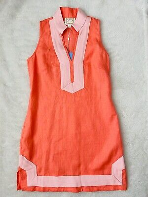 SAIL TO SABLE Classic Linen Sleeveless Tunic Dress Coral/Pink S $188