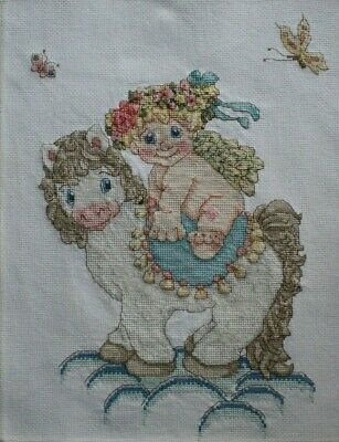 Dreamsicles Cherub Angel On Horse and Pink Roses Cross Stitch Complete Finished