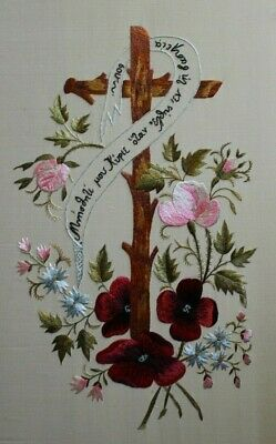 Vtg Religious Cross Roses Pink Red Flowers Crewel Embroidery Completed Finished