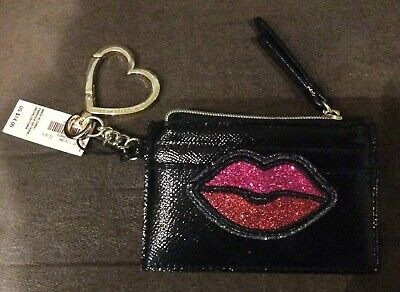 VICTORIA/'S SECRET Glam Keychain Card Case Black Bling Pink Red Lips Kiss Patch