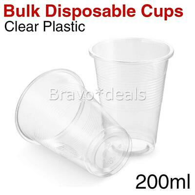 Disposable Plastic Cups Clear Reusable Drinking Water Cup Party 200ml 7OZ Bulk