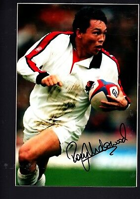 Rory Underwood Hand Signed Cardboard Framed Colour Photo 14 X 11 Inch
