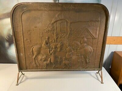 Vintage Pressed English Horse & Hound Hunting Scene Copper Fireplace Screen