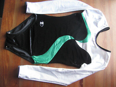 ZS Silver, Black and green Sparkly Gymnastics Leotard 34""