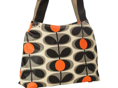 Fab Orla Kiely Oval Flower in Granite Grey - Classic Zip Shoulder Bag