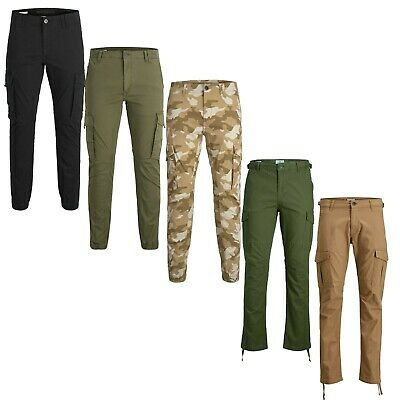Jack & Jones Mens Cargo Tapered Trousers Loose Fit Combat Camouflage Pants