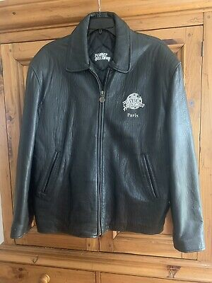 Planet Hollywood Paris Mens Black Leather Jacket Size Large With Quilted Lining.