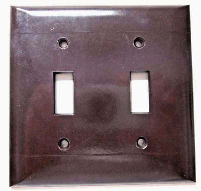 PS Sierra 2 Lines Gang Switch Plate Wall Cover Brown Smooth Bakelite Vintage