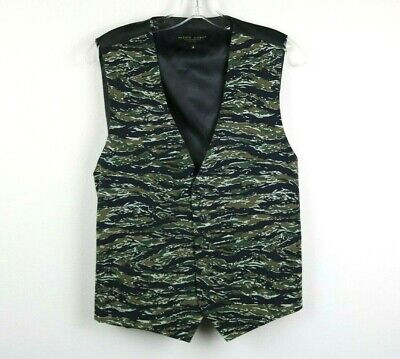 Pronto Uomo Mens Vest Sleeveless Camouflage Buttons Black Green Brown Size Small