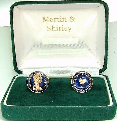 1978 Half Pence cufflinks from real coins in Blue &Gold
