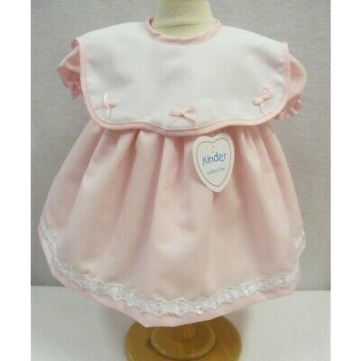 Beautiful Kinder Baby Girl Pink Waffle Collar Dress Cap Sleeve Romany Bows