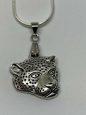 Unisex Fashion 925 Sterling Solid Silver And Alloy Leopard Head Necklace.
