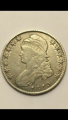 1819 capped bust half dollar VF-XF Rare Date Lettered Edge Beautiful Coin