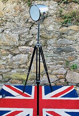 Large Chrome and Japanned Wooden Tripod Lamp (Nautical style)