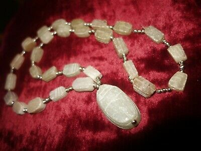 Vintage 1960s Egyptian revival Scarab hand carved soapstone bead necklace