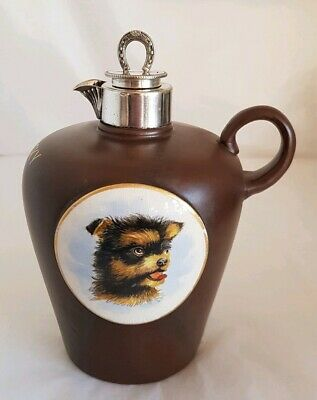 Antique continental porcelain jug.  Hand painted Miniature of a Dog. S.WHISKY
