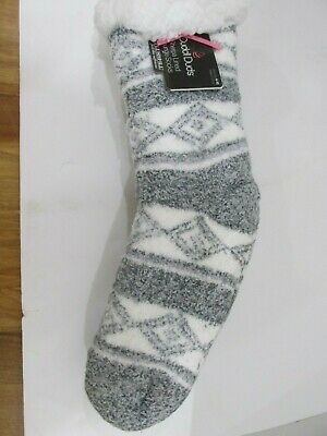 Cuddl Duds Sherpa Lined Lounge Cabin Socks Shoe Size 4-10 Grey New With Tags