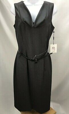 Calvin Klein Womens Size 6 Gray Sheath Dress Drape Neck Belted Lined Career NEW