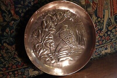 Antique Arts & Crafts * Bird & Water Lily * Design Copper Charger / Wall Plaque