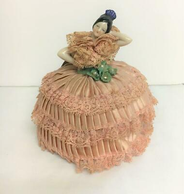 Vintage Porcelain Victorian Lady Pin Cushion Pink Ruffled Dress w Lace Ribbon