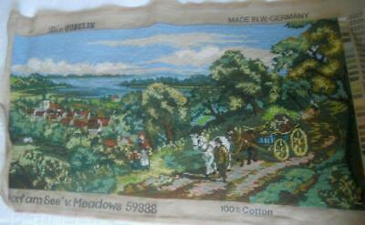Lg Vintage Completed Gobelin Tapestry Dorf Am See Village On The Lake