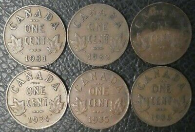 Canada Small Cents George V 1931 1932 1933 1934 1935 1936 Canadian Coins