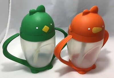 2 LOLLACUP Sippy Cups Straw Orange & Green Lollaland USA Toddler Transition Cup