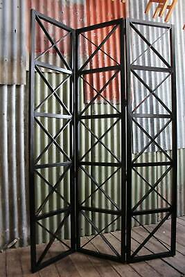 A Tall Ebonised Timber Room Divider 208cm High - Trifold Screen