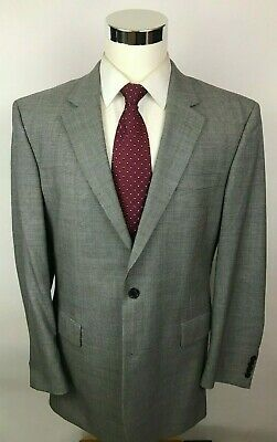Jos A Bank Gray Houndstooth Modern Fit 2 Button Wool Suit Men's 42L 36x31 Mint!
