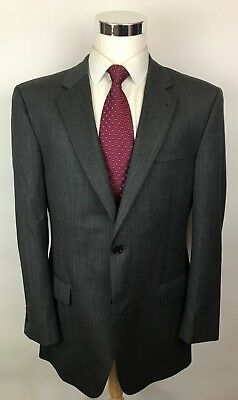 Jos A Bank Signature Gray Herringbone Modern Fit 2 Button Wool Suit 42L 36x30