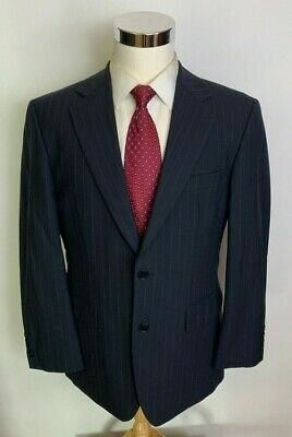 Brooks Brothers 346 Stretch Charcoal Chalk Stripe 2 Button Wool Suit 39S 34x31