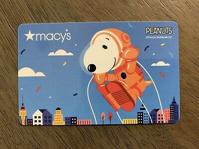Macy's Gift Card featuring Peanuts Snoopy as an Astronaut