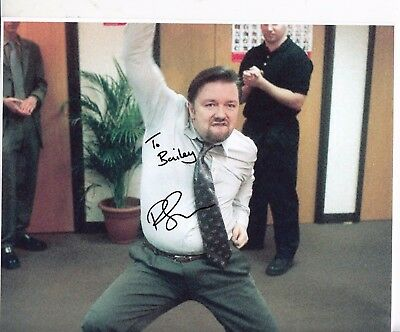 Ricky Gervais As David Brent The Office Hand Signed Colour Photograph 10X 8 Inch